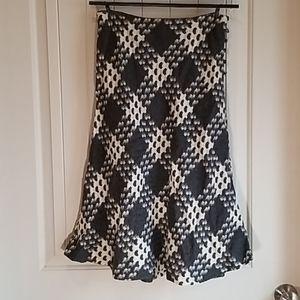 High waist Wool grey and cream Skirt